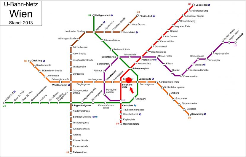 Vienna's U-bahn map with Stephansdom pointed out