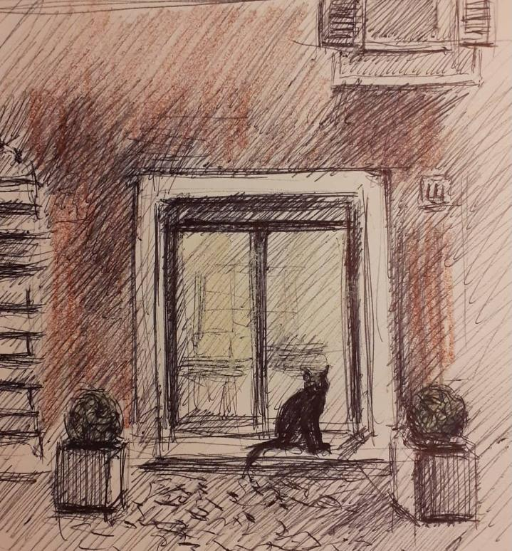 Discover Rome through art: Eros in front of Roberto's atelier, sketch
