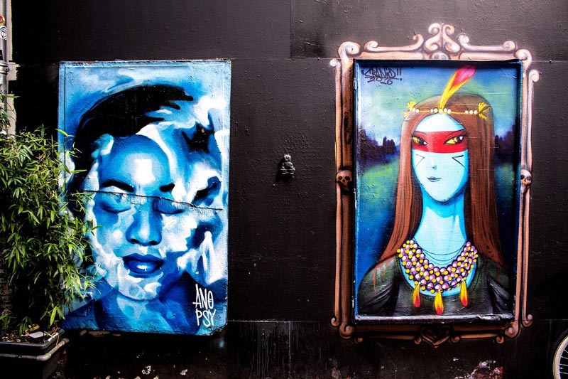 Colorful street art in Amsterdam