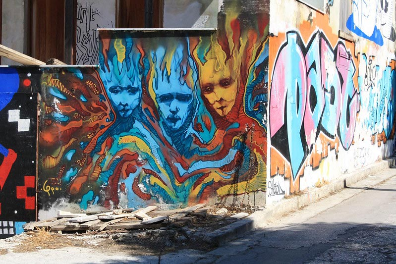 Street art in picturesque Plaka, Athens