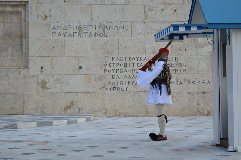 Evzone guard on Syntagma Square