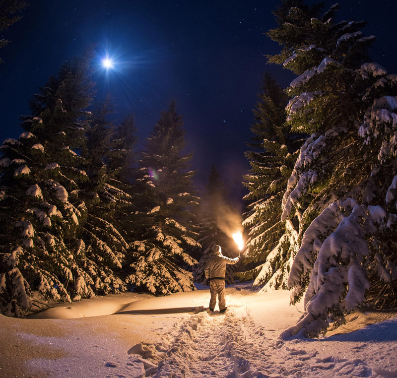 Torchlight Hike:  A walk at night is especially beautiful in winter.
