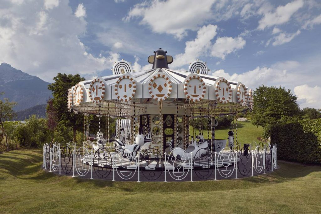 Sparkling carousel exhibition part of the Circus of Dreams at Swarovski Crystal Worlds
