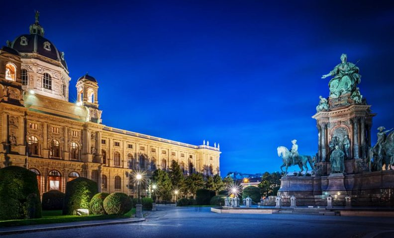 Vienna's Art History Museum at night